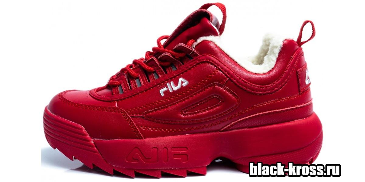 FILA DISRUPTOR 2 Red с мехом  (36-41)