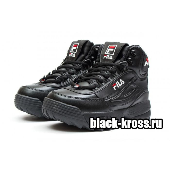 Fila Disruptor 2 High Black с мехом (36-41)