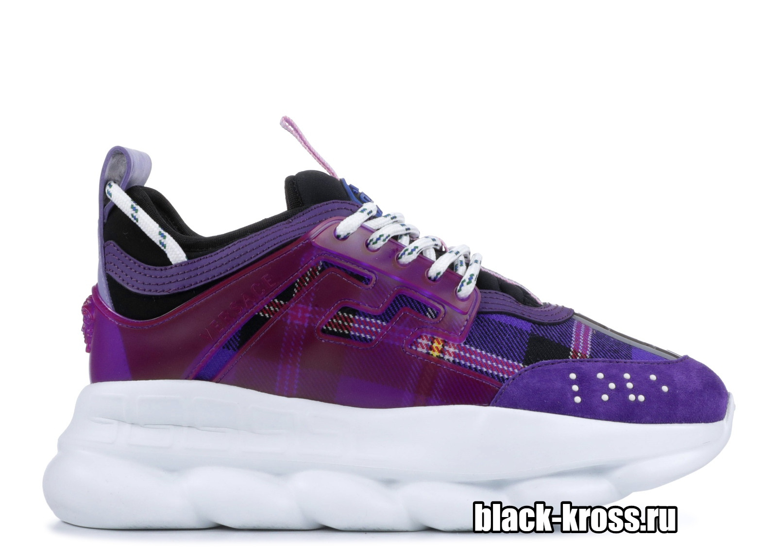 VERSACE checked lace-up sneakers (36-40)